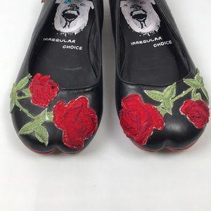 Irregular Choice Shoes - Irregular Choice Black Leather Rose 🌹 Decal Flats